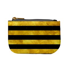 Stripes2 Black Marble & Gold Paint Mini Coin Purses by trendistuff