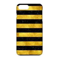 Stripes2 Black Marble & Gold Paint Apple Iphone 8 Plus Hardshell Case by trendistuff