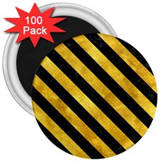 Stripes3 Black Marble & Gold Paint 3  Magnets (100 Pack) by trendistuff