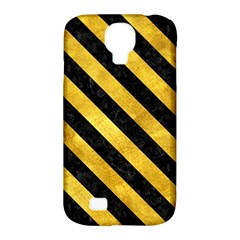 Stripes3 Black Marble & Gold Paint Samsung Galaxy S4 Classic Hardshell Case (pc+silicone) by trendistuff