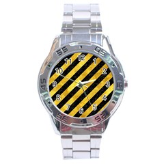 Stripes3 Black Marble & Gold Paint (r) Stainless Steel Analogue Watch by trendistuff
