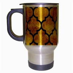 Tile1 Black Marble & Gold Paint Travel Mug (silver Gray) by trendistuff