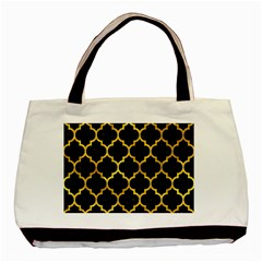 Tile1 Black Marble & Gold Paint (r) Basic Tote Bag by trendistuff