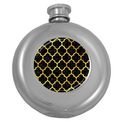 Tile1 Black Marble & Gold Paint (r) Round Hip Flask (5 Oz) by trendistuff