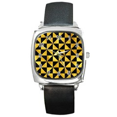 Triangle1 Black Marble & Gold Paint Square Metal Watch by trendistuff