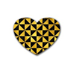 Triangle1 Black Marble & Gold Paint Heart Coaster (4 Pack)  by trendistuff