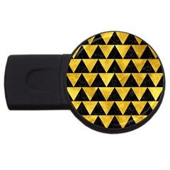 Triangle2 Black Marble & Gold Paint Usb Flash Drive Round (2 Gb) by trendistuff