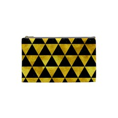 Triangle3 Black Marble & Gold Paint Cosmetic Bag (small)  by trendistuff
