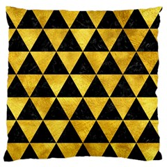 Triangle3 Black Marble & Gold Paint Large Flano Cushion Case (one Side) by trendistuff