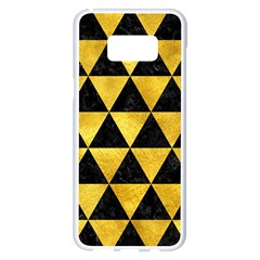 Triangle3 Black Marble & Gold Paint Samsung Galaxy S8 Plus White Seamless Case by trendistuff