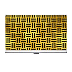 Woven1 Black Marble & Gold Paint Business Card Holders by trendistuff