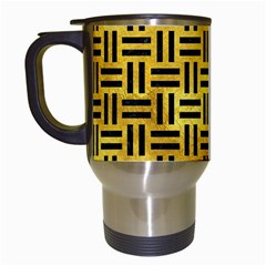 Woven1 Black Marble & Gold Paint Travel Mugs (white) by trendistuff