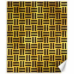 Woven1 Black Marble & Gold Paint Canvas 8  X 10  by trendistuff