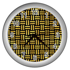 Woven1 Black Marble & Gold Paint (r) Wall Clocks (silver)  by trendistuff