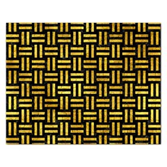 Woven1 Black Marble & Gold Paint (r) Rectangular Jigsaw Puzzl