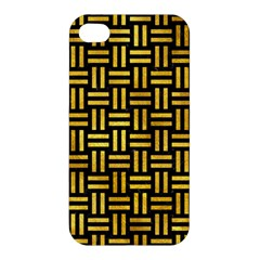 Woven1 Black Marble & Gold Paint (r) Apple Iphone 4/4s Hardshell Case by trendistuff