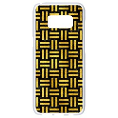 Woven1 Black Marble & Gold Paint (r) Samsung Galaxy S8 White Seamless Case by trendistuff