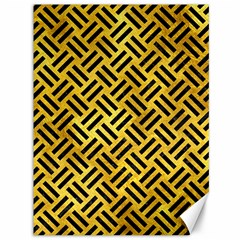 Woven2 Black Marble & Gold Paint Canvas 36  X 48   by trendistuff