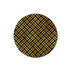 Woven2 Black Marble & Gold Paint (r) Rubber Coaster (round)  by trendistuff