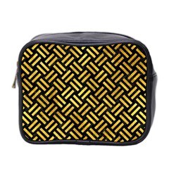 Woven2 Black Marble & Gold Paint (r) Mini Toiletries Bag 2 Side by trendistuff