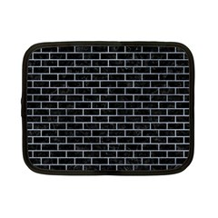 Brick1 Black Marble & Silver Paint (r) Netbook Case (small)  by trendistuff