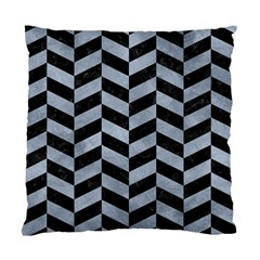 Chevron1 Black Marble & Silver Paint Standard Cushion Case (one Side) by trendistuff