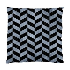 Chevron1 Black Marble & Silver Paint Standard Cushion Case (two Sides) by trendistuff