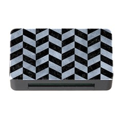 Chevron1 Black Marble & Silver Paint Memory Card Reader With Cf by trendistuff