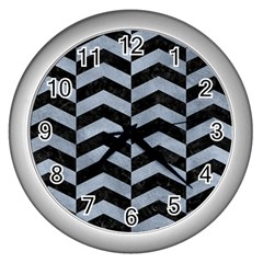 Chevron2 Black Marble & Silver Paint Wall Clocks (silver)  by trendistuff