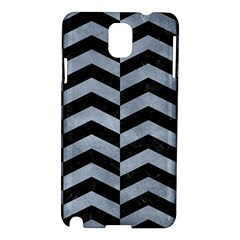 Chevron2 Black Marble & Silver Paint Samsung Galaxy Note 3 N9005 Hardshell Case by trendistuff