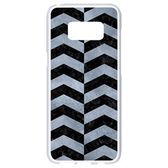 Chevron2 Black Marble & Silver Paint Samsung Galaxy S8 White Seamless Case by trendistuff