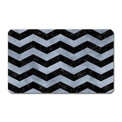 Chevron3 Black Marble & Silver Paint Magnet (rectangular) by trendistuff