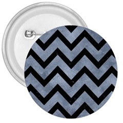 Chevron9 Black Marble & Silver Paint 3  Buttons by trendistuff