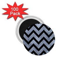 Chevron9 Black Marble & Silver Paint 1 75  Magnets (100 Pack)  by trendistuff