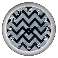 Chevron9 Black Marble & Silver Paint Wall Clocks (silver)  by trendistuff