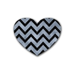 Chevron9 Black Marble & Silver Paint Heart Coaster (4 Pack)  by trendistuff