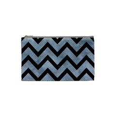 Chevron9 Black Marble & Silver Paint Cosmetic Bag (small)  by trendistuff
