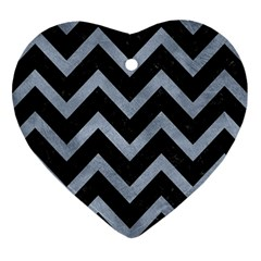 Chevron9 Black Marble & Silver Paint (r) Heart Ornament (two Sides) by trendistuff