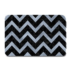 Chevron9 Black Marble & Silver Paint (r) Plate Mats by trendistuff