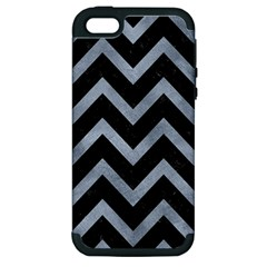 Chevron9 Black Marble & Silver Paint (r) Apple Iphone 5 Hardshell Case (pc+silicone) by trendistuff
