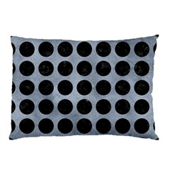 Circles1 Black Marble & Silver Paint Pillow Case by trendistuff