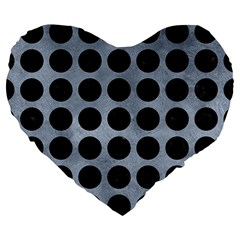 Circles1 Black Marble & Silver Paint Large 19  Premium Heart Shape Cushions by trendistuff