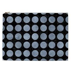 Circles1 Black Marble & Silver Paint (r) Cosmetic Bag (xxl)  by trendistuff