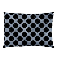 Circles2 Black Marble & Silver Paint Pillow Case by trendistuff