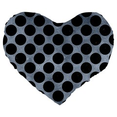 Circles2 Black Marble & Silver Paint Large 19  Premium Flano Heart Shape Cushions by trendistuff