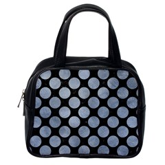 Circles2 Black Marble & Silver Paint (r) Classic Handbags (one Side) by trendistuff