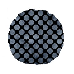Circles2 Black Marble & Silver Paint (r) Standard 15  Premium Flano Round Cushions by trendistuff