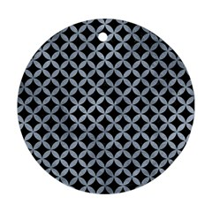 Circles3 Black Marble & Silver Paint (r) Round Ornament (two Sides) by trendistuff