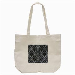 Damask1 Black Marble & Silver Paint Tote Bag (cream) by trendistuff