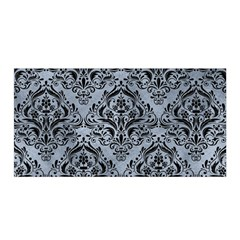 Damask1 Black Marble & Silver Paint Satin Wrap by trendistuff